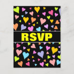 "[ Thumbnail: ""RSVP"" + Fun, Loving, Colorful Hearts Pattern Postcard ]"