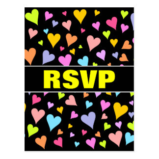 """RSVP"" + Fun, Loving, Colorful Hearts Pattern Postcard"