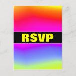 "[ Thumbnail: ""RSVP"" + Fun Multicolored Rainbow-Like Pattern Postcard ]"