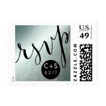 RSVP Glam Handwriting Typography | silver foil Postage
