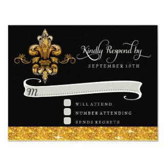 RSVP Glitter Faux Gold Black Formal Fleur de Lis Card