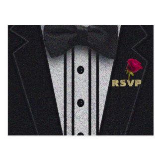 RSVP   Glitter Tuxedo Postcard
