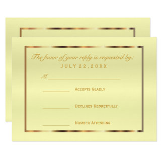 RSVP  Gold and Pale Yellow Satin Card