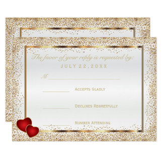 RSVP  Gold Confetti and White Satin Card