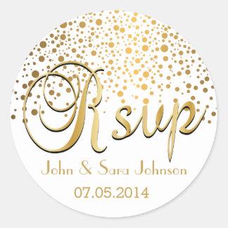 RSVP | Gold Confetti Dots | Personalize Classic Round Sticker