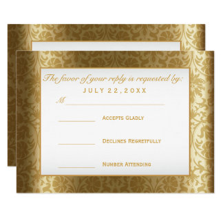 RSVP  Gold Damask and White Card