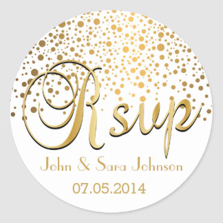 RSVP | Gold Dots | Personalize Classic Round Sticker
