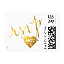 RSVP Gold Foil Heart Handwriting CHOOSE YOUR COLOR Postage