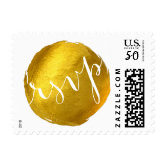 RSVP Gold Foil Paint Brush Stroke Postage