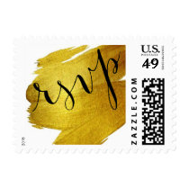 RSVP Gold Foil Paint Brush Stroke Postage