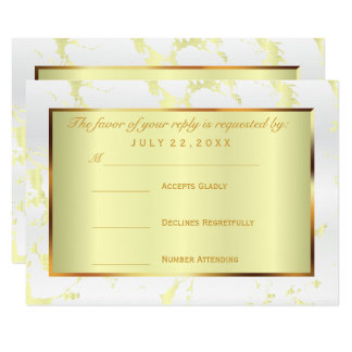 RSVP  Gold, White and Pale Yellow Satin Card