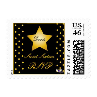 RSVP Golden Star And Polka Dots Postage-Customize.
