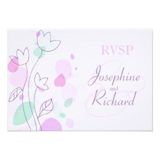 RSVP Graphic modern flower petals wedding purple Announcement