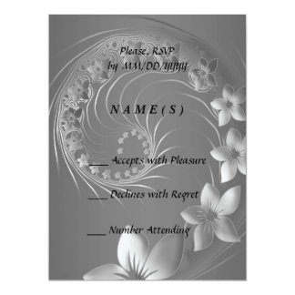 RSVP - Gray Abstract Flowers 6.5x8.75 Paper Invitation Card
