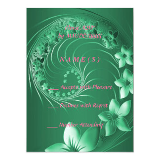 RSVP - Green Abstract Flowers Card