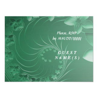 RSVP - Green Abstract Flowers 6.5x8.75 Paper Invitation Card