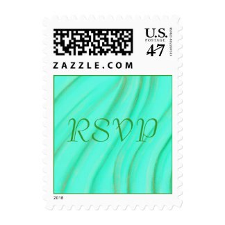 RSVP Green and Gold Blends Wedding Stamps