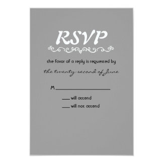 """RSVP gris (invitaciones del boda del mapache de Invitación 3.5"""" X 5"""""""