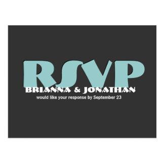 RSVP gris y azul que casa respuesta Tarjetas Postales