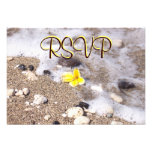RSVP Guest Reply Enclosure Seashells, Plumeria Custom Invitations