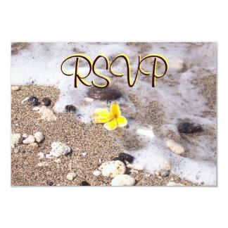 RSVP Guest Reply Enclosure Seashells, Plumeria 3.5x5 Paper Invitation Card