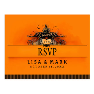 RSVP Halloween Orange & Black Love MENU SELECTIONS Postcard