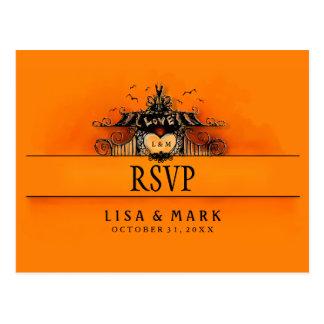 RSVP Halloween Postcard - Orange & Black Love Post Cards