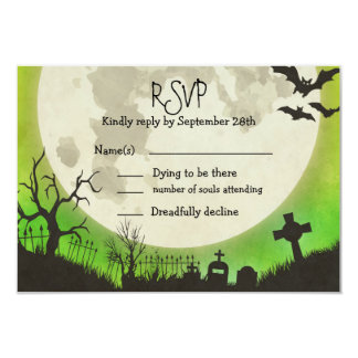 RSVP Halloween wedding - green with full moon Card