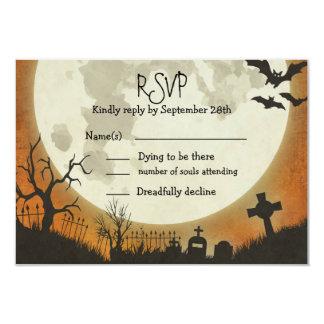 RSVP Halloween wedding in orange with moon Card