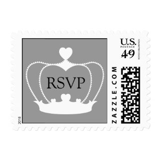 RSVP Heart Crown Gray Postage Stamp