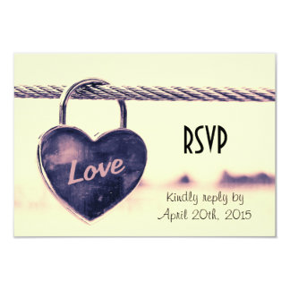 RSVP Heart Shaped Love Padlock Attached to a Rope Card