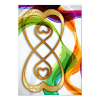 RSVP Hearts Double Infinity & Rainbow Ribbons - 3 3.5x5 Paper Invitation Card