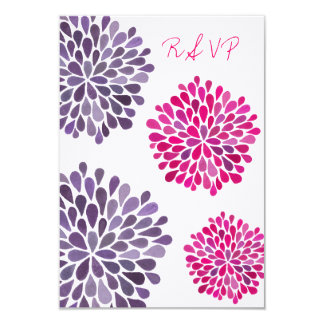 RSVP Hot Pink & Purple Floral Blooms Wedding Card Personalized Announcement