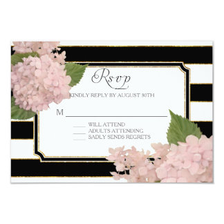 RSVP Hydrangea Modern Elegant Black White Stripe Card