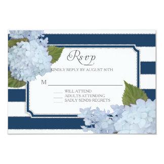 RSVP Hydrangea Modern Elegant Navy White Stripe Card