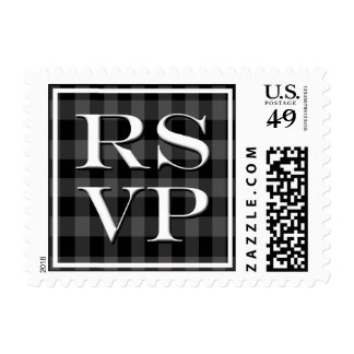 RSVP In Black And White Postage Stamp