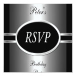 RSVP Invite 50th Birthday Party Black  Silver 2 Announcements