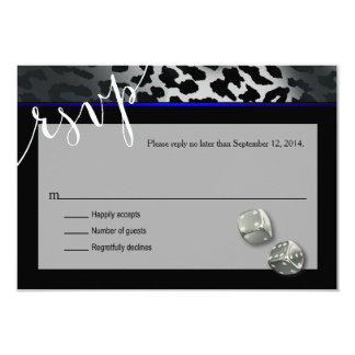 RSVP Las Vegas Art Deco Leopard black blue silver Card