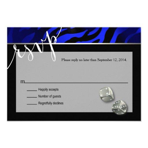 RSVP Las Vegas Art Deco Zebra   black blue silver Invitations
