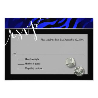 "RSVP Las Vegas Art Deco Zebra | black blue silver 3.5"" X 5"" Invitation Card"