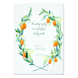 RSVP Laurel Wreath Kumquat Branch Modern Simple Card