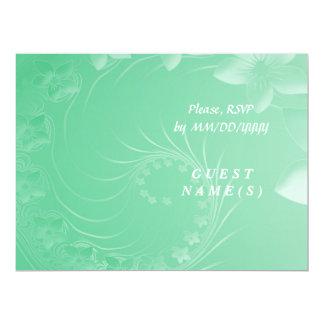 RSVP - Light Green Abstract Flowers Card