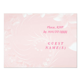 RSVP - Light Pink Abstract Flowers 6.5x8.75 Paper Invitation Card
