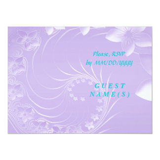 RSVP - Light Violet Abstract Flowers 6.5x8.75 Paper Invitation Card