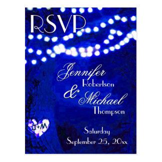 RSVP - Lights on Trees Blue Postcard