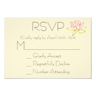 RSVP Lotus Flower / Water Lily Illustration 3.5x5 Paper Invitation Card