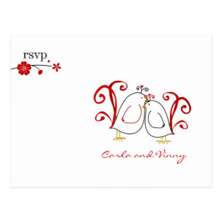 RSVP lovebirds and cherry blossoms PC Post Card