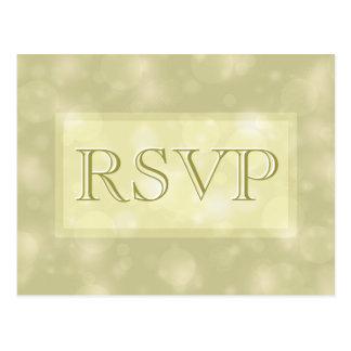 RSVP - luces elegantes de Bokeh del oro Postales