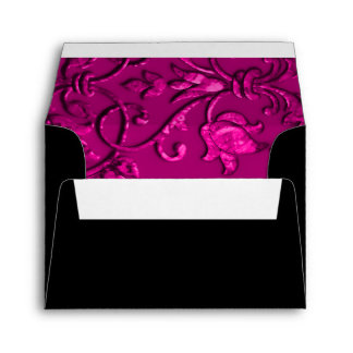 RSVP Magenta Pink Damask with Any Color Envelope