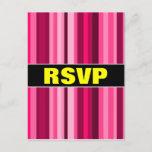 """[ Thumbnail: """"RSVP"""" + Magenta & Pink Striped Pattern Postcard ]"""